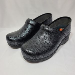 Dansko  XP Black Medallion Patent Leather Clogs